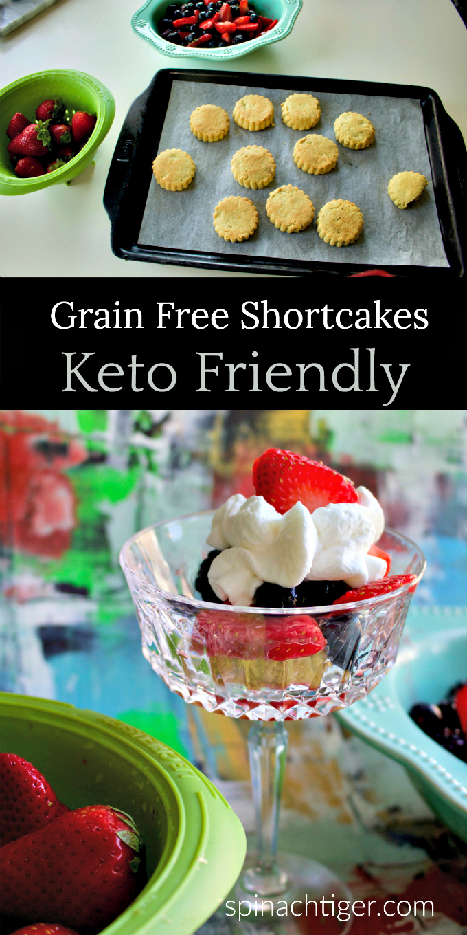 Grain Free Shortcake Biscuits for Strawberry Shortcake. #keto #lowcarb #paleo #dessert #sugarfree from Spinach Tiger