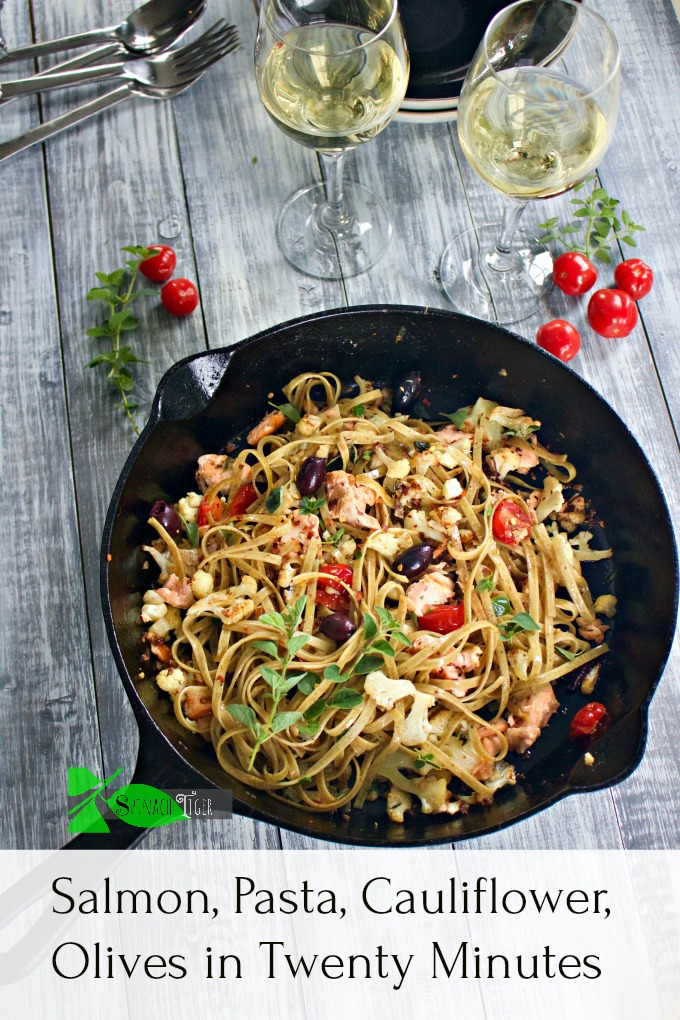 Pasta with Salmon Recipe with Cauliflower, Olives from Spinach Tiger