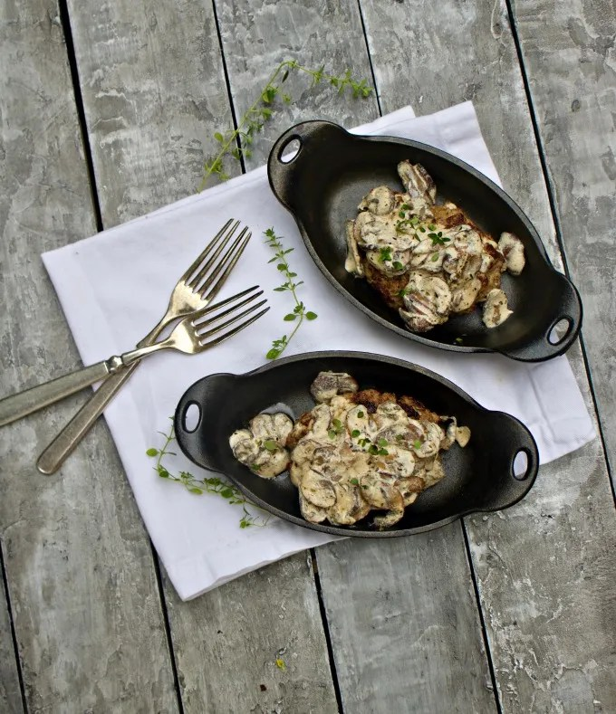 Burger Steak Recipe with Mushroom Sauce from Spinach Tiger