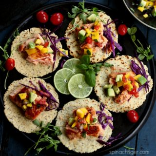 Salmon Tacos with Mango Tomato Salsa