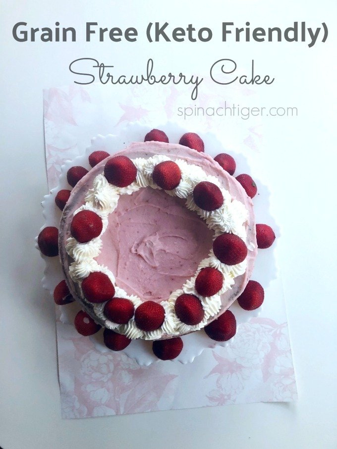 Gluten Free Strawberry Cake from Spinach TIger