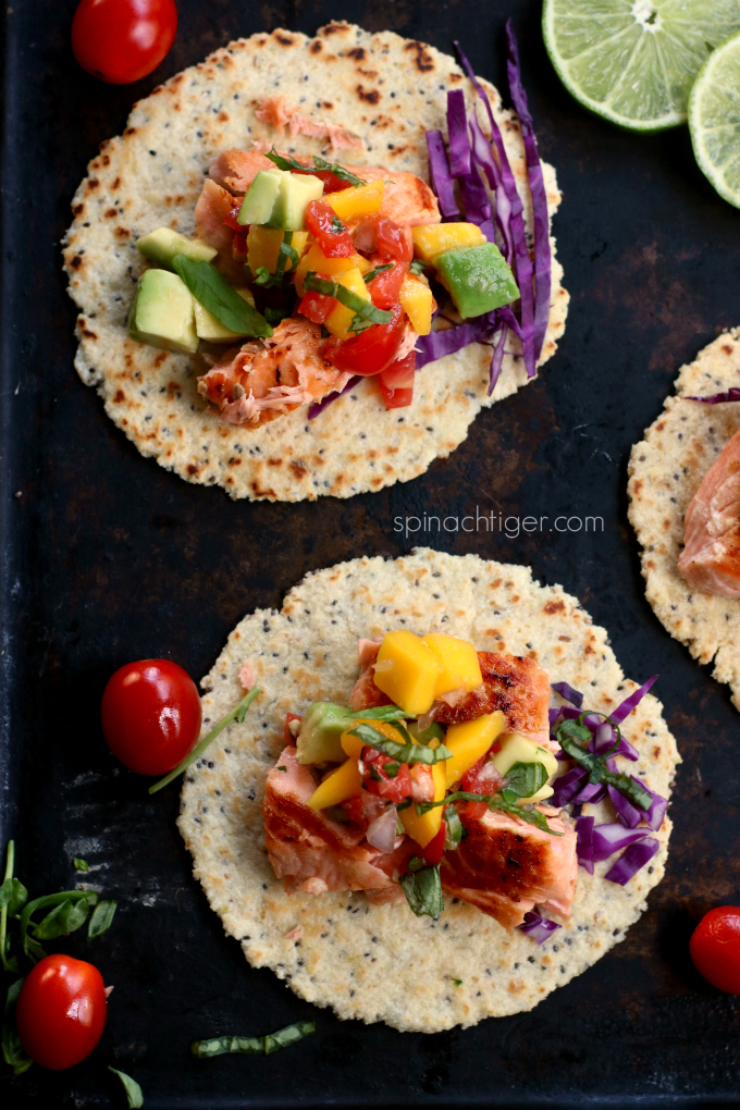 Pan Seared Salmon Tacos with Mango Tomato Salsa from Spinach Tiger
