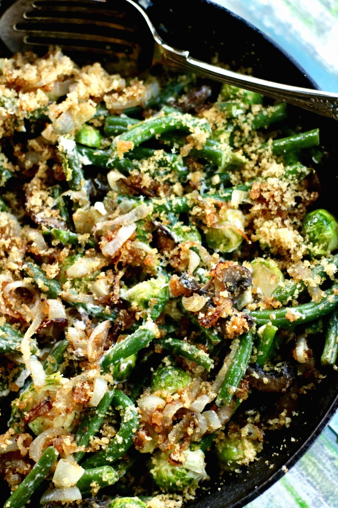 Green Beans Casserole with Brussels Sprouts and Bacon