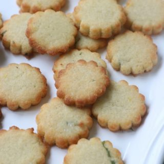Lemon Basil Shortbread Cookies