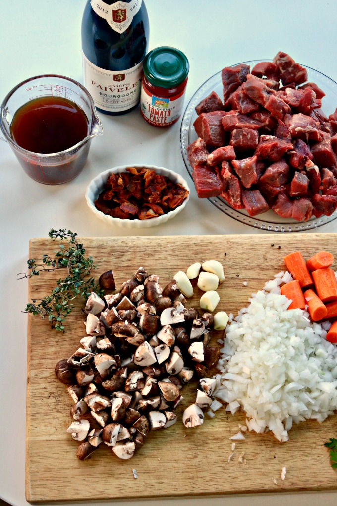 Ingredients for Easy Beef Bourguignon