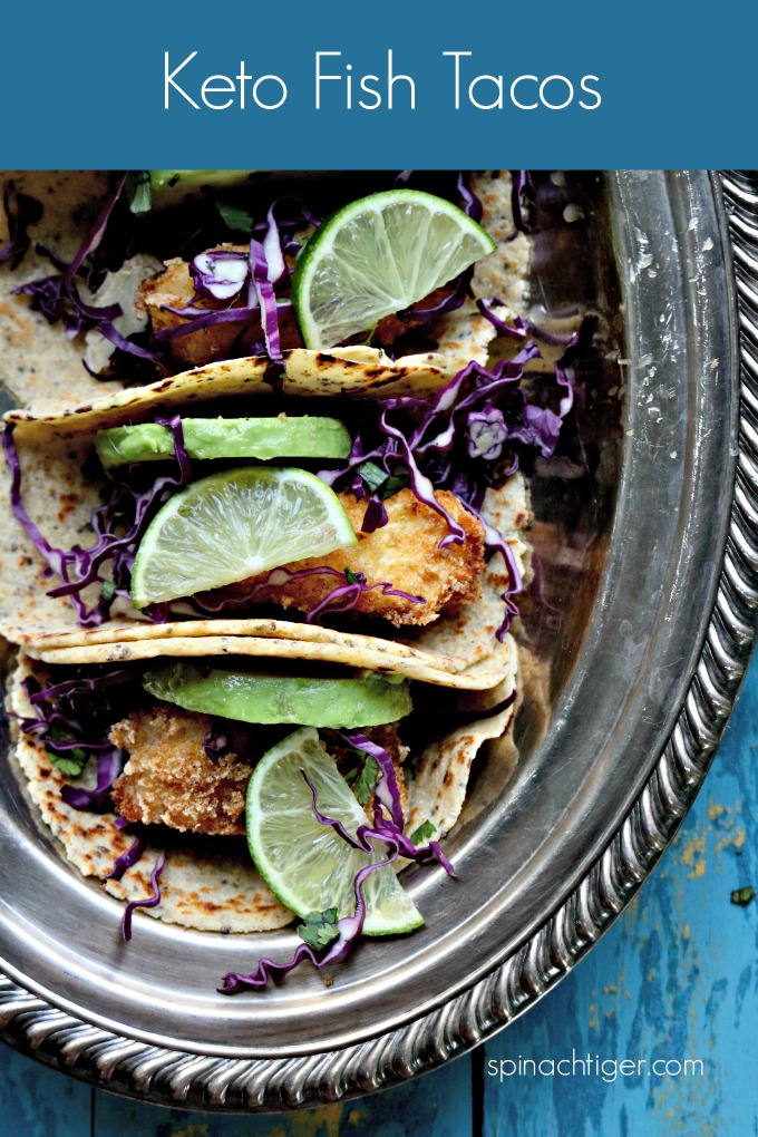 Keto Fish Tacos. Fry fish with Pork Panko (or grind pork rinds). Recipe for my amazing grain free tortillas. Keto, grain free, low carb, paleo, and diabetic friendly. Ketotacos #grainfreerecipe #diabeticfriendly #spinachitger via @angelaroberts