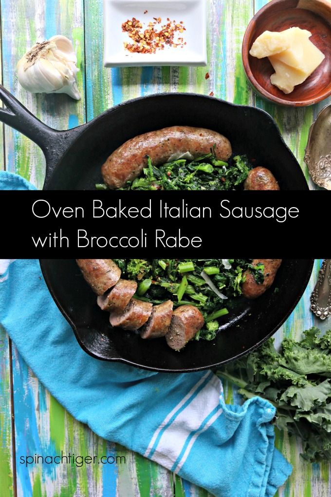 Oven Baked Italian Sausage with Broccoli Rabe from Spinach TIger