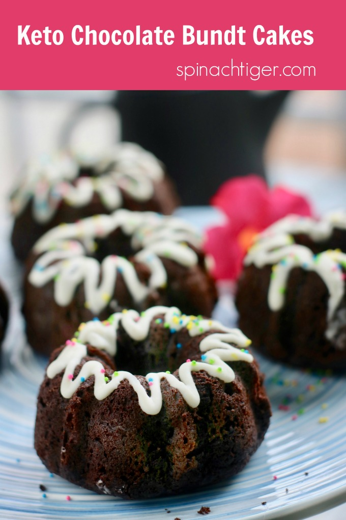 Keto Chocolate Bundt Cakes, Gluten Free, Paleo, Low Carb from Spinach Tiger #ketochocolatecake #ketocake #ketobundtcakes #bundtcake