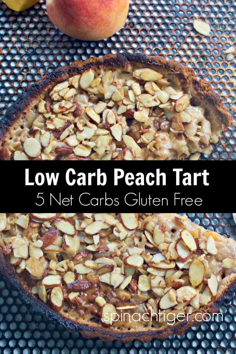 Low Carb Peach Almond Tart with Low Carb Almond Flour Crust with Fresh Peaches, almond flour crust, heavy cream. 5 Net carbs per slice. #LOWCARBTART #PEACHDESSERTS #PEACHTART #SPINACHTIGER via @angelaroberts