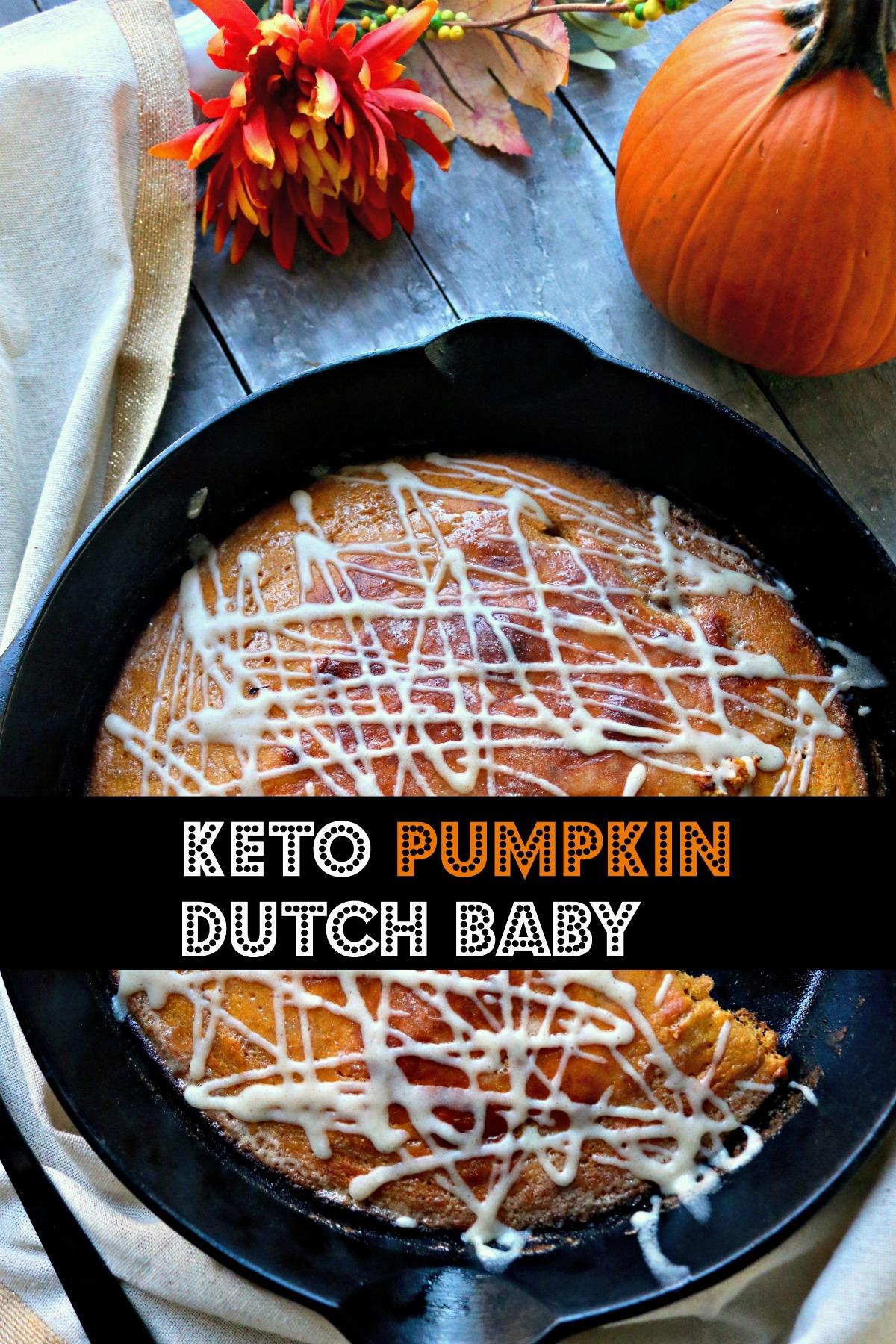 Brunch, Breakfast Keto Pumpkin Dutch Baby with Cream Cheese Glaze. Low Carb, Almond Flour, Easy mix, bake for 15 minutes. #ketodutchbaby #ketopumpkindutchbaby #spinachtiger #lowcarbketobreakfast #ketobreakfast #ketopumpkinrecipe #ketobakedpancake  via @angelaroberts