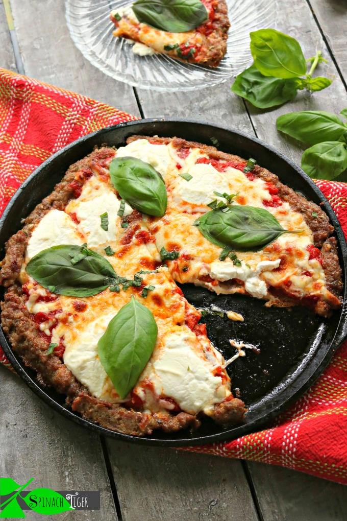Keto Sausage Crusted Three Cheese Pizza with Ricotta from Spinach Tiger