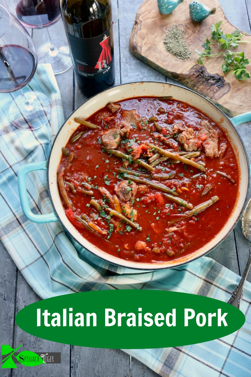 Italian Braised shoulder pork steak, crock pot or dutch oven with veggies. Turns pork fork tender. from Spinach Tiger #shoulderporksteak #braisedporksteak #porksteak #porkstew #easydinner via @angelaroberts
