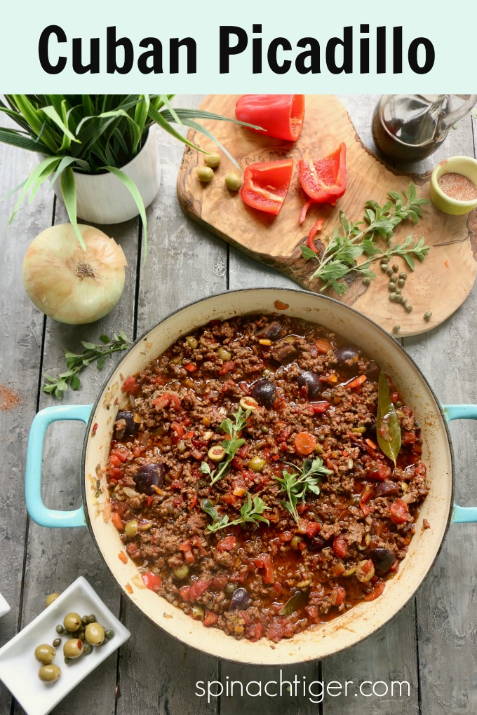 Cuban Picadillo is a delicious way to make ground beef because there are big flavors and versatility. #spinachtiger #cubanpicadillo #groundbeefrecipe #groundbeefideas #slowcookerideas #slowcookerrecipe #sazonseasoning via @angelaroberts