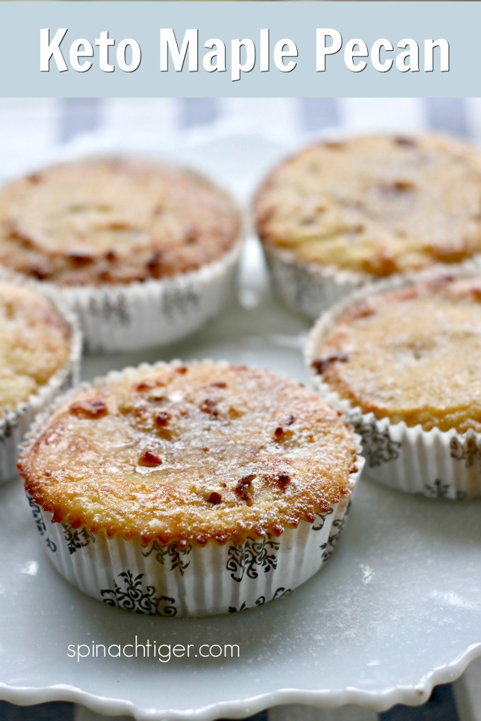 Make these delicious keto maple pecan muffins that taste like pancakes. Made with Choc zero maple syrup, almond flour, coconut flour and chopped pecans, these are great for breakfast lunch or dessert. #ketomuffins #ketobreakfast #spinachtiger via @angelaroberts