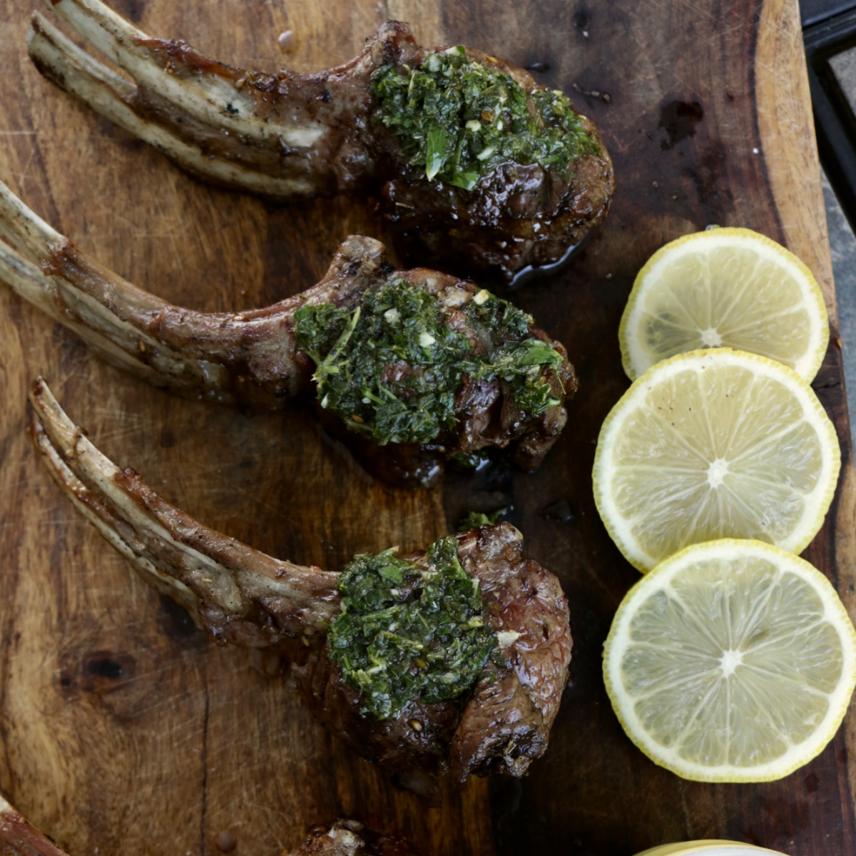 Grilled Lollypop Lamb Chops with Mint Pistou