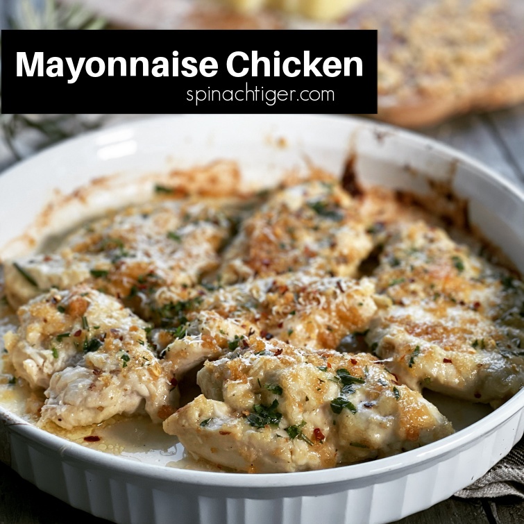 Keto Parmesan Mayonnaise Chicken Bake. Boneless breasts of chicken pounded and baked in parmesan mayonnaise, baked to crispy perfection. #porkpanko #chickendinner #easydinner #parmesan #pecorino #mayonnaisechicken #spinachtiger #Ketochickendinner via @angelaroberts