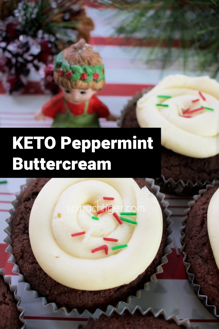 Keto Peppermint Frosting with low carb chocolate cupcakes. Delicious perfect texture, sold in my keto bakery. This keto chocolate cupcakes have been made thousands of times in the bakery. #ketocupcakes #ketopeppermintfrosting #ketochocolatecake #ketochristmasdesserts #lowcarbfrosting #ketopeppermintbuttercream #spinachtiger via @angelaroberts