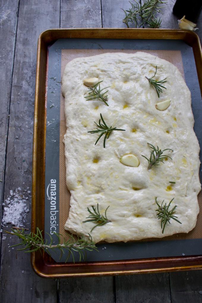Unbaked Sourdough Focaccia