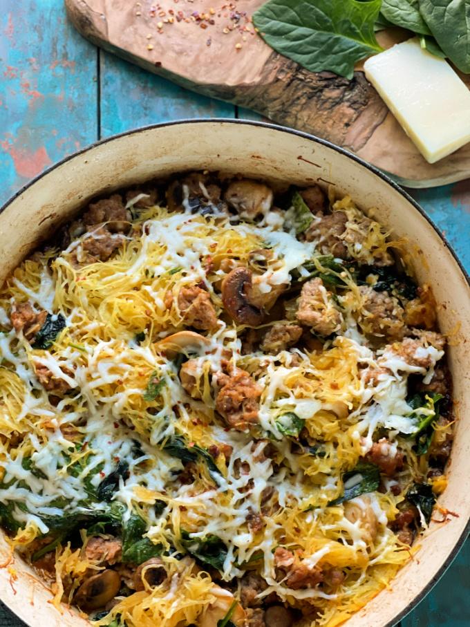 low carb Italian sausage recipe with spaghetti squash, mushrooms