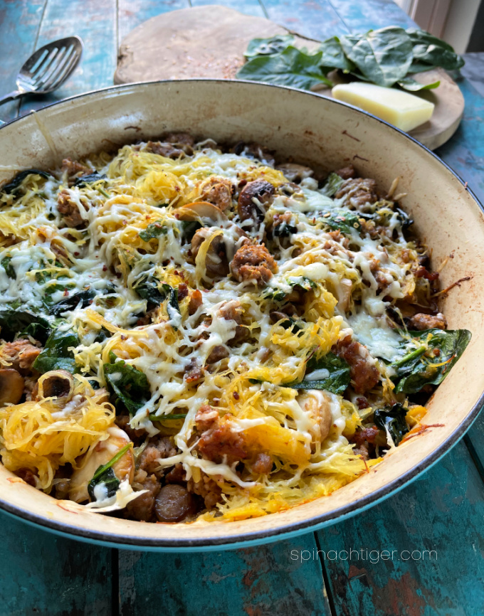 low carb Italian sausage recipe, mushrooms, spinach, pecorino from Spinach Tiger