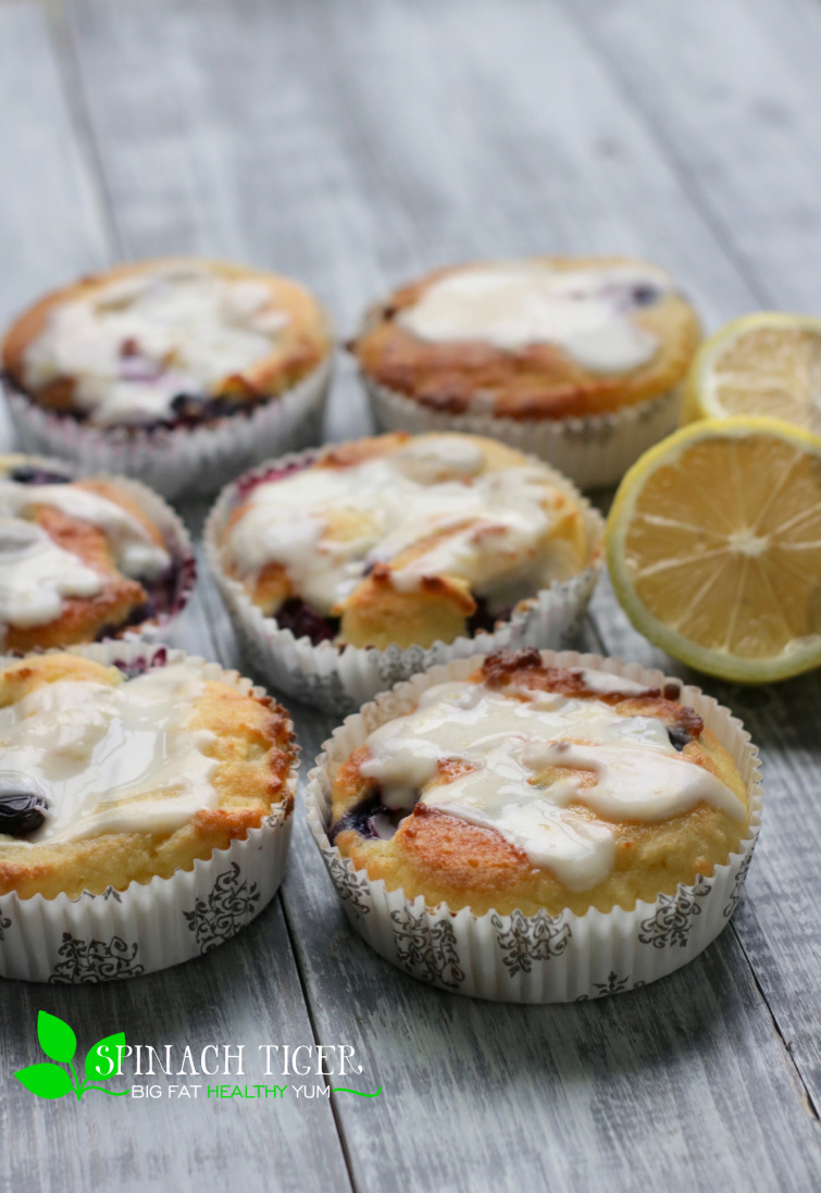 Low Carb Lemon Blueberry Muffin with Lemon Glaze from Spinach Tiger