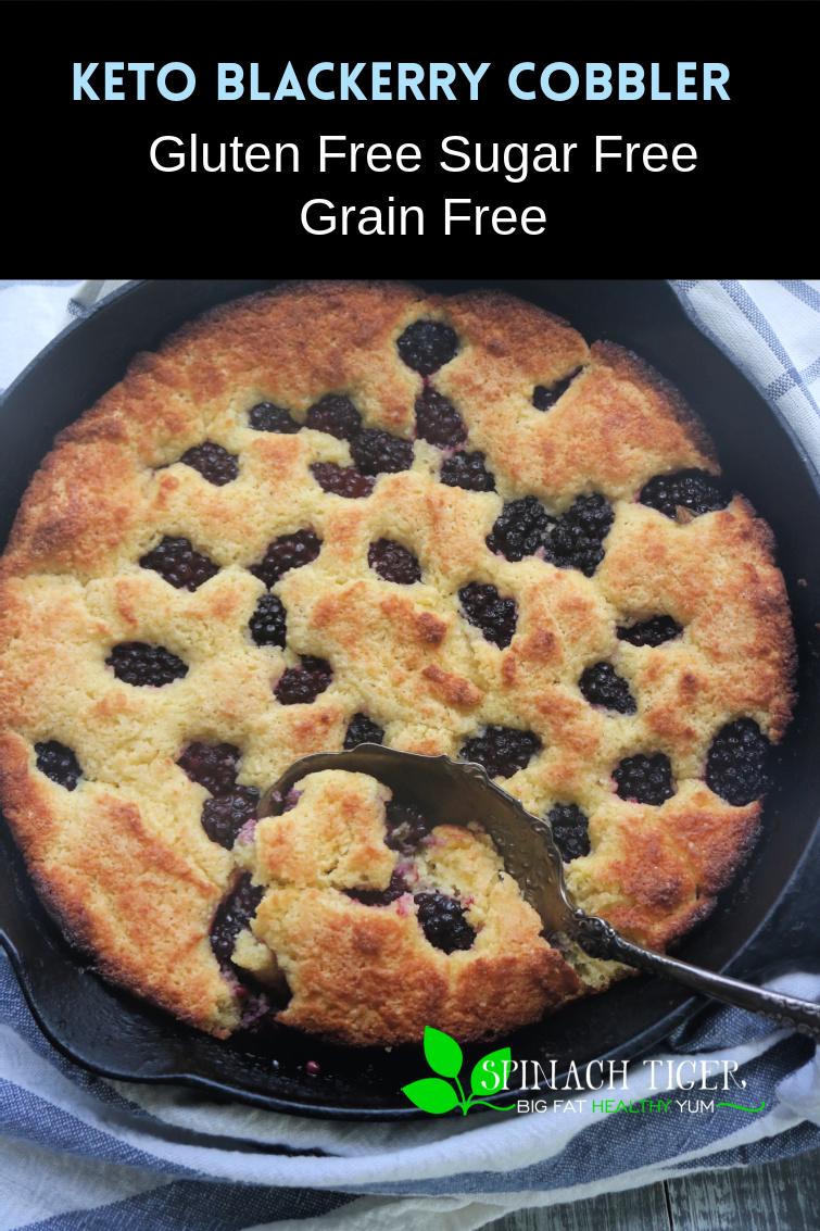 Sugar Free, Grain Free, Gluten Free, Low-Carb Keto Friendly Blackberry Cobbler. Easy to Make with almond flour and coconut flour, fresh blackberries. via @angelaroberts