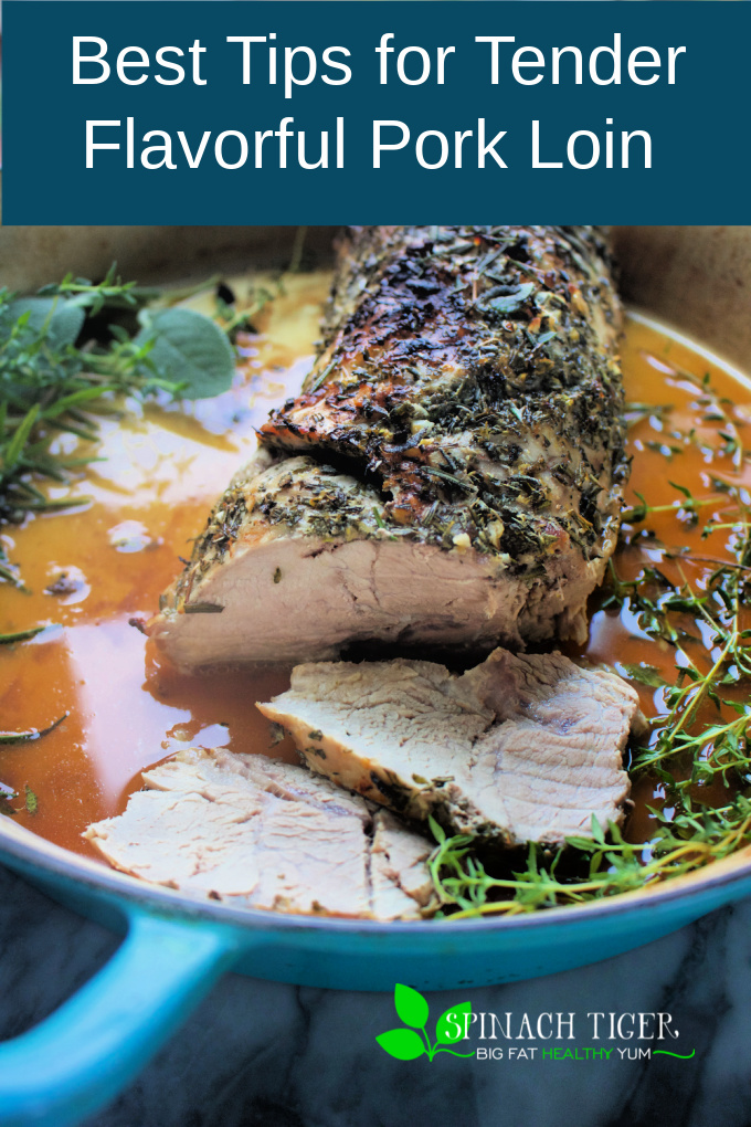 How to brine and season a pork loin roast to ensure a tender, flavorful roast. Rosemary, sage, thyme, lemon zest drive the flavors. #porkloin #porkroast #spinachtiger #rosemary #thyme #sage via @angelaroberts