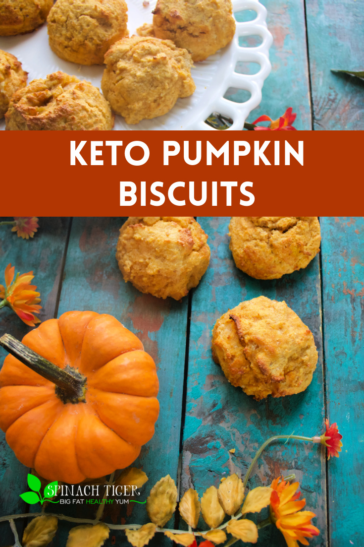 Keto Pumpkin Biscuits made with almond flour, coconut flour, low in calories, 2 net carbs. Perfect for breakfast or making stuffing, adding to meatloaf.Delicious and easy to make. Sold in my keto bakery. #ketobiscuits #ketopumpkinrecipes #ketobreakfast #glutenfreebaking #ketobaking #paleobaking #spinachtiger via @angelaroberts