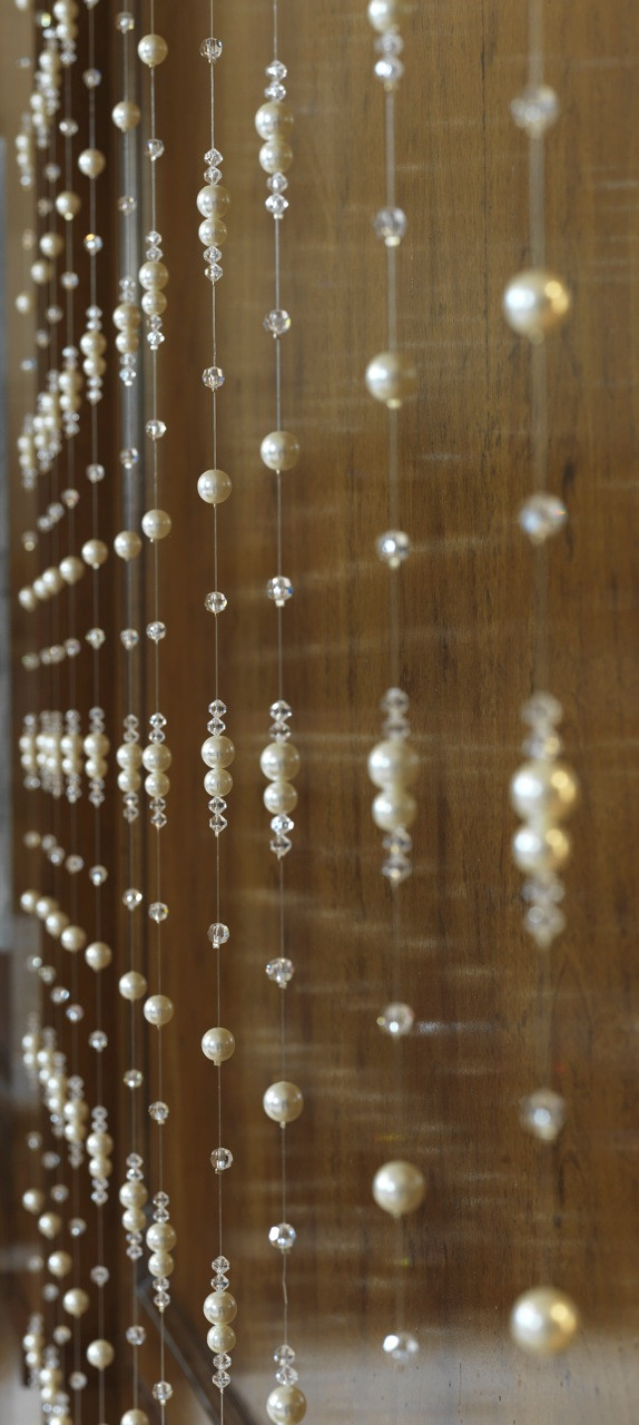PEARL AND CRYSTAL BEADED STRANDS CRYSTAL CURTAINS AND