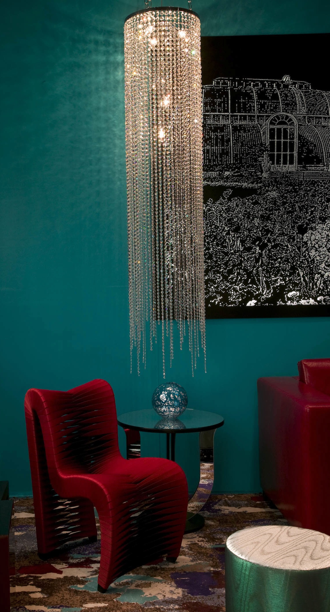 LONG CLEAR CRYSTAL CIRCULAR CHANDELIER  CHANDELIERS