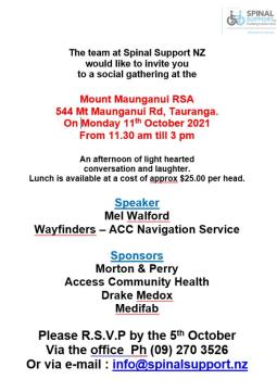 Spinal Support Gathering Mount Maunganui RSA 544 Mt Maunganui Rd, Tauranga. On Monday 11 th October 2021 flyer