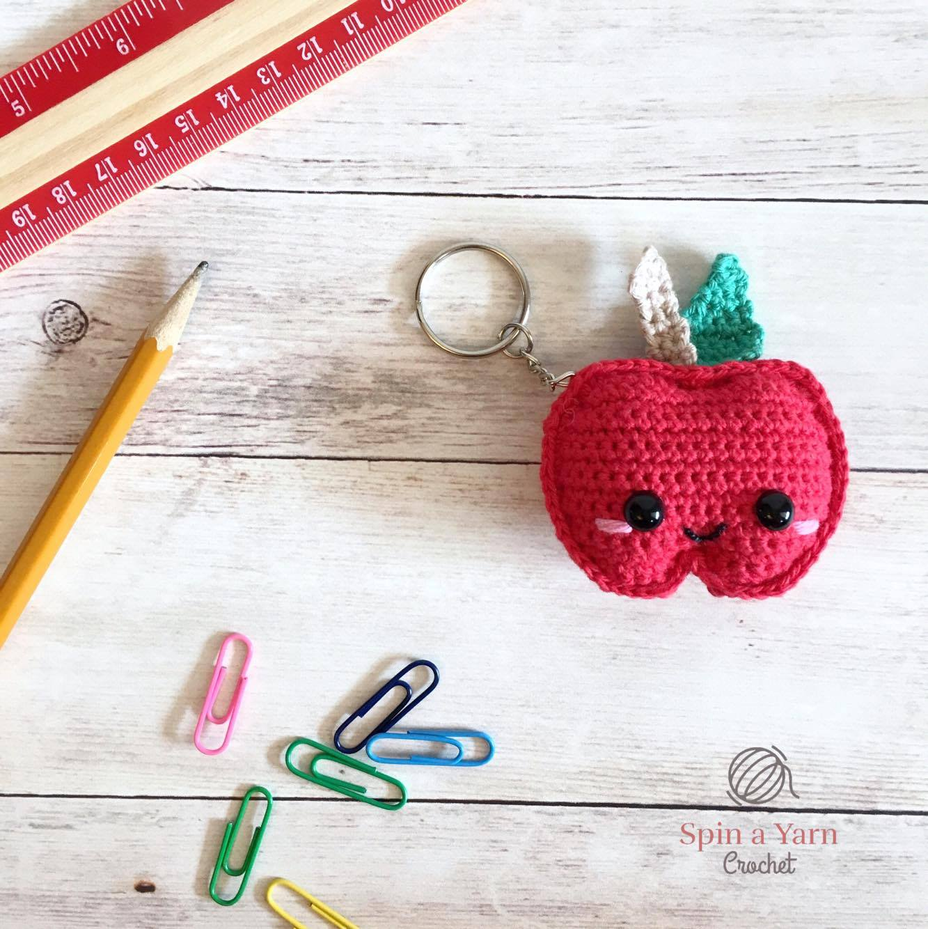 graphic about Free Printable Crochet Patterns titled Kawaii Apple Keychain No cost Crochet Behavior Spin a Yarn Crochet