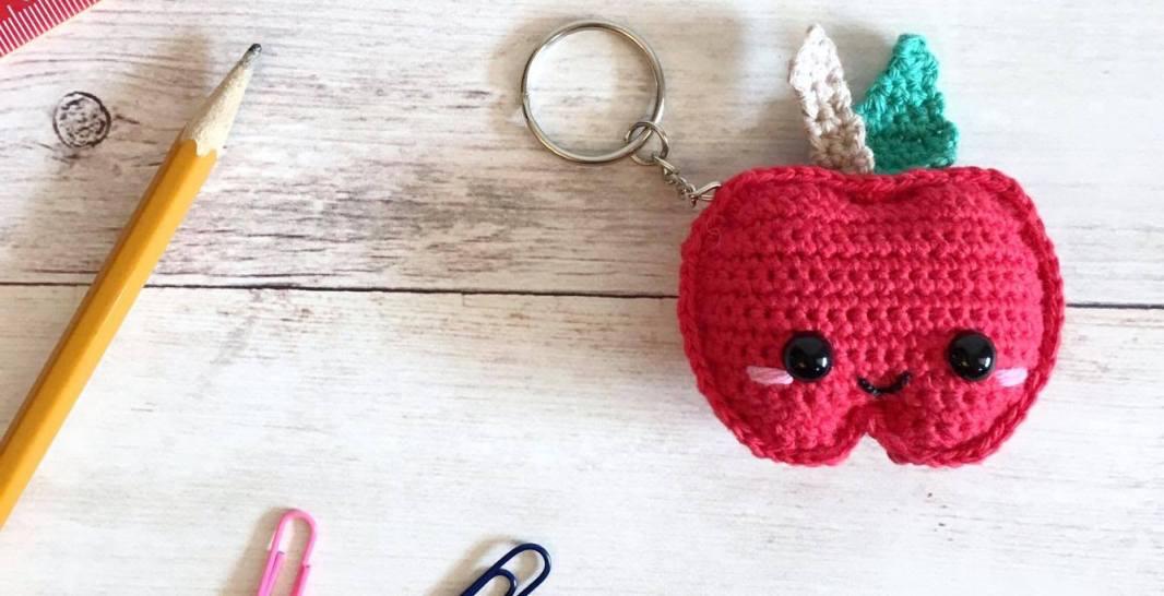 Kawaii Apple Keychain Free Crochet Pattern Spin A Yarn Crochet