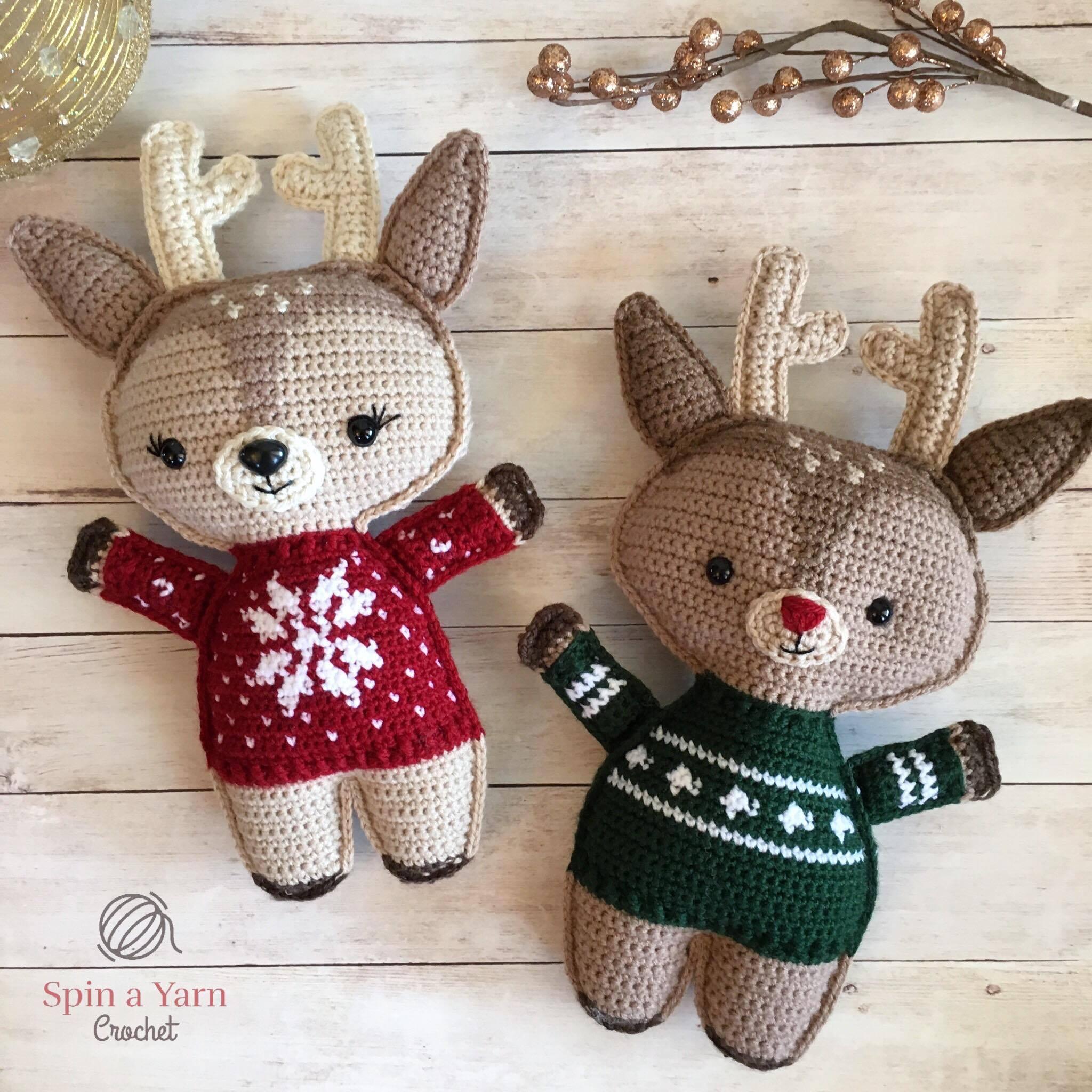Holiday deer free crochet pattern part 2 spin a yarn crochet reindeer wearing sweaters bankloansurffo Choice Image