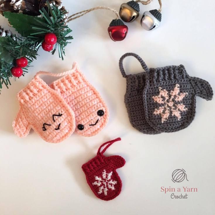 Mittens Ornament Free Crochet Pattern