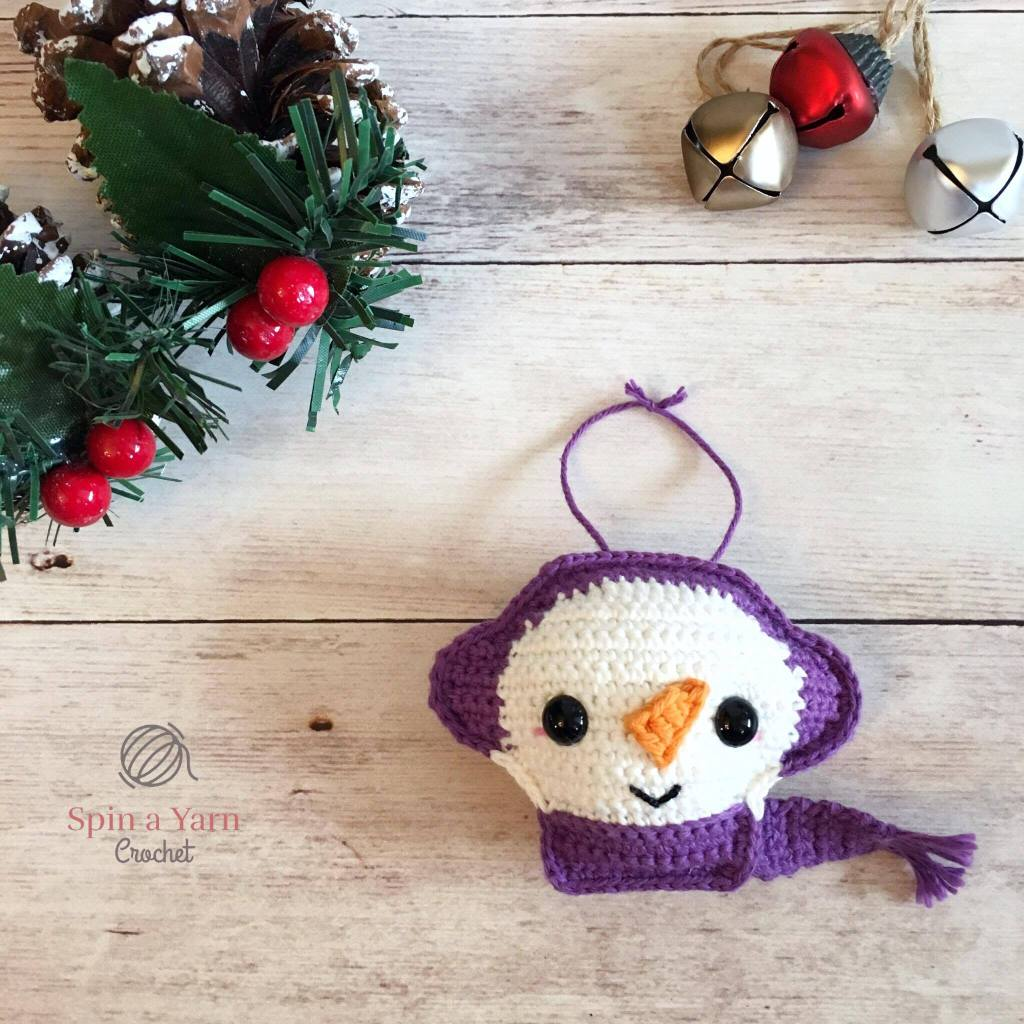 Snowman Ornament with bells and acorns