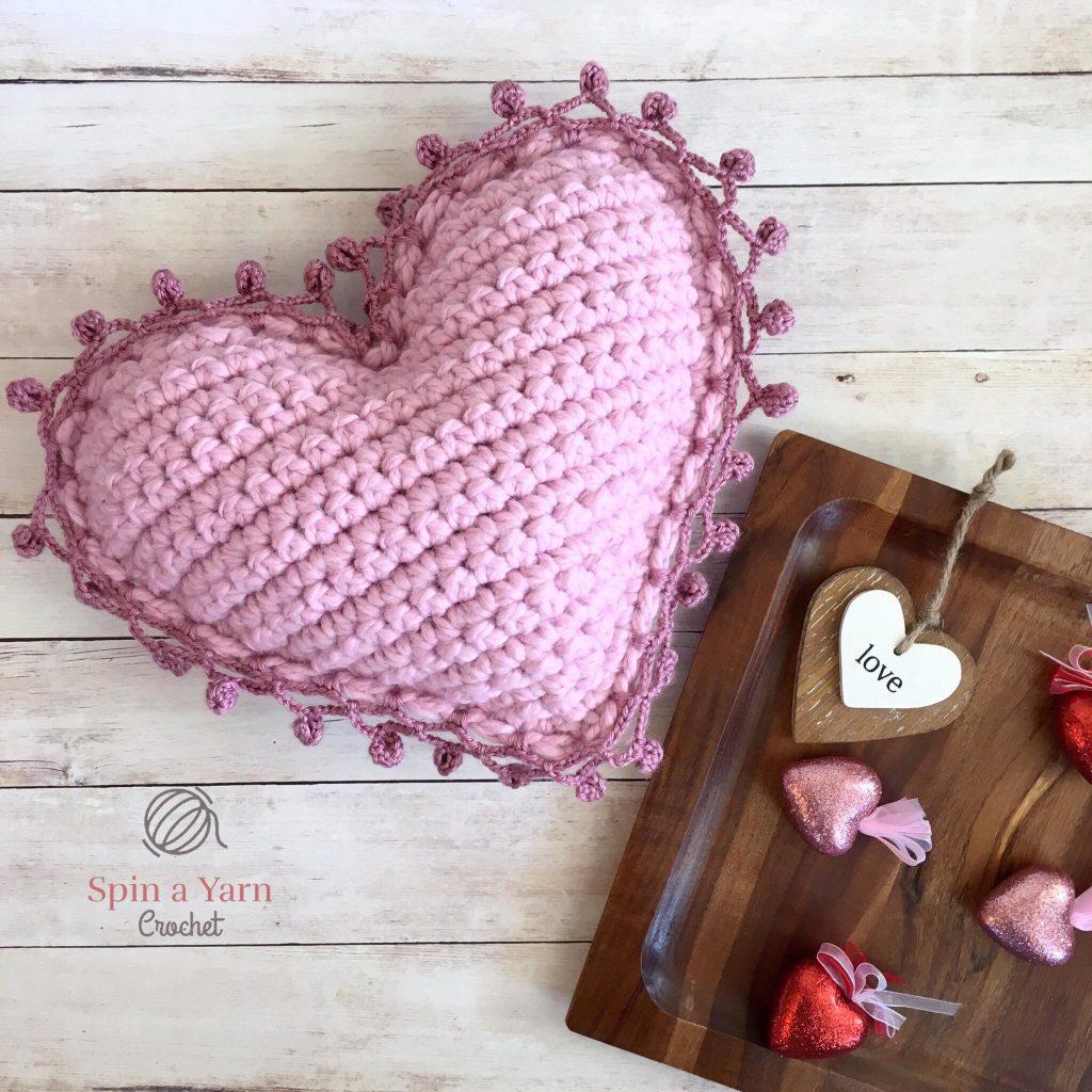Heart Pillow Free Crochet Pattern Spin A Yarn Crochet