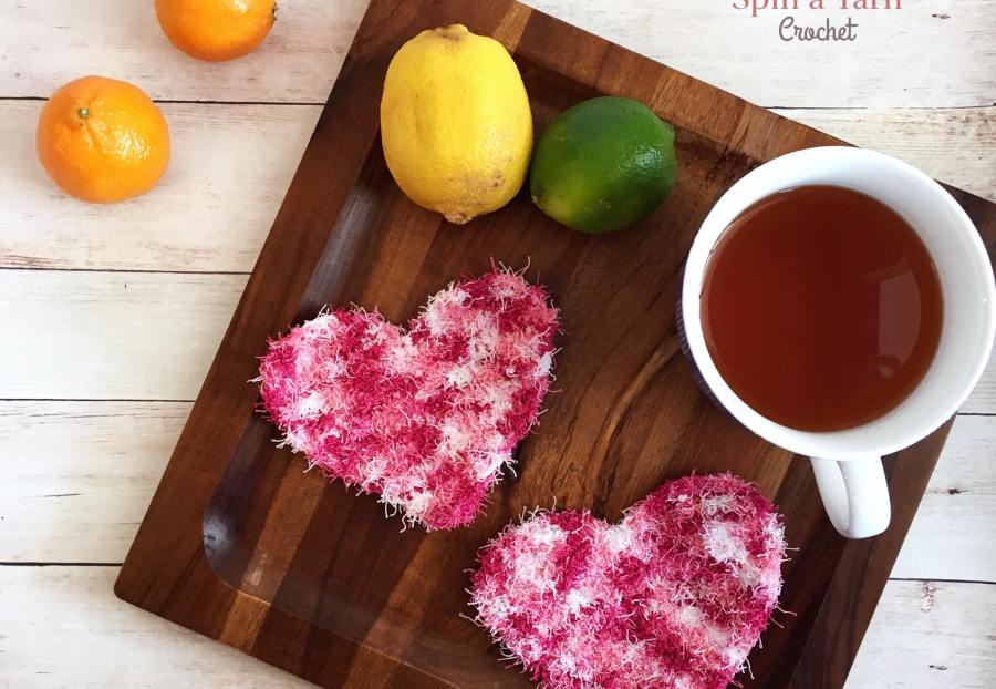heart shaped dish scrubbies with tea and fruit