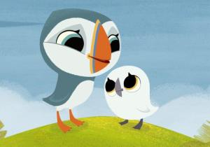 Cartoon image of Oona and Baba from Puffin Rock