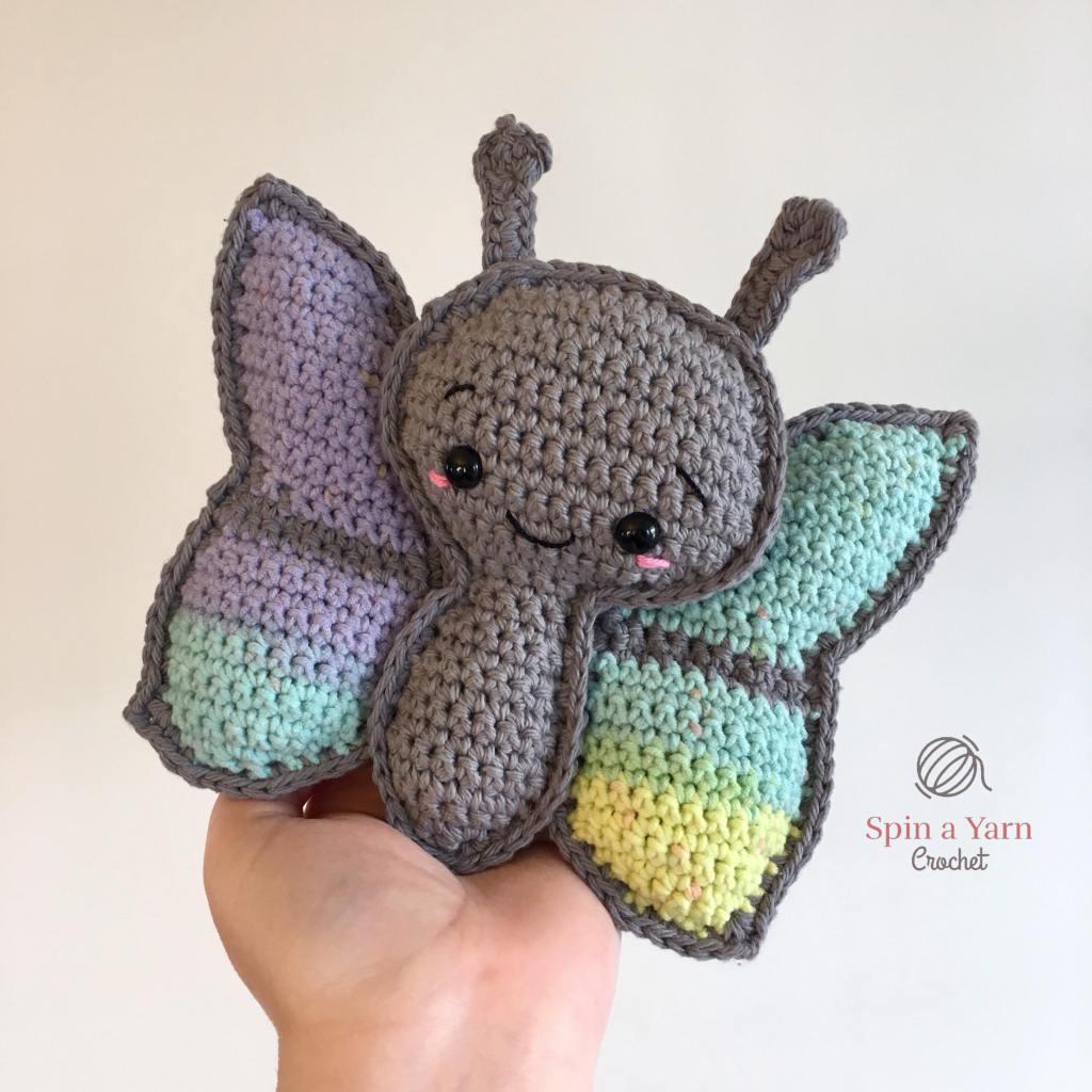 Crochet grey butterfly