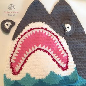 Crochet shark assembly pieces