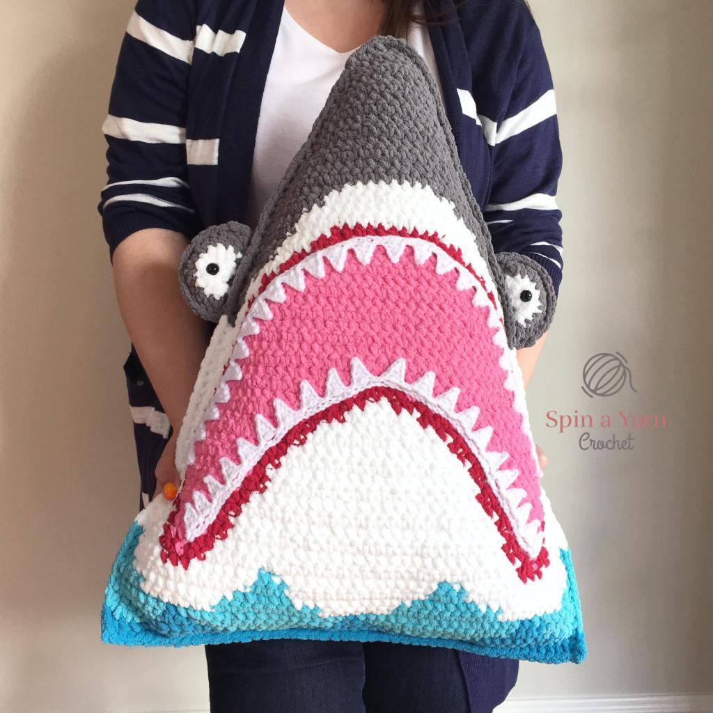 Crochet shark pillow