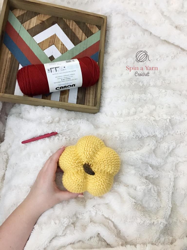 Yellow crochet pumpkin