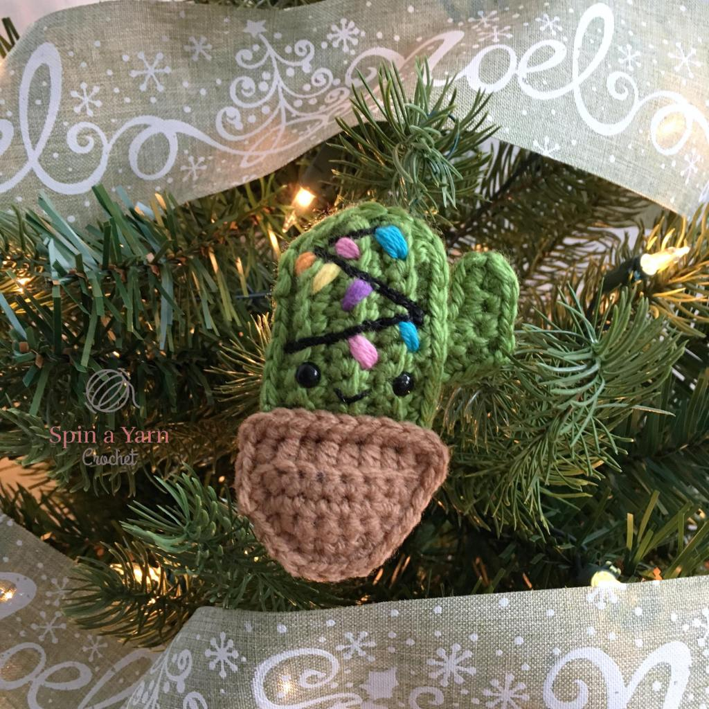 Crochet Cactus ornament on tree