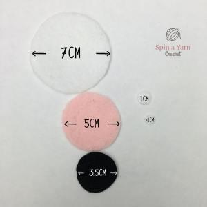 Felt circles with measurements