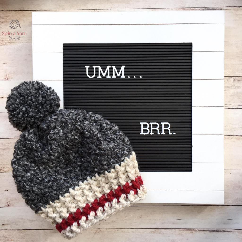 "Finished work hat with letter sign saying ""Umm...Brr."""