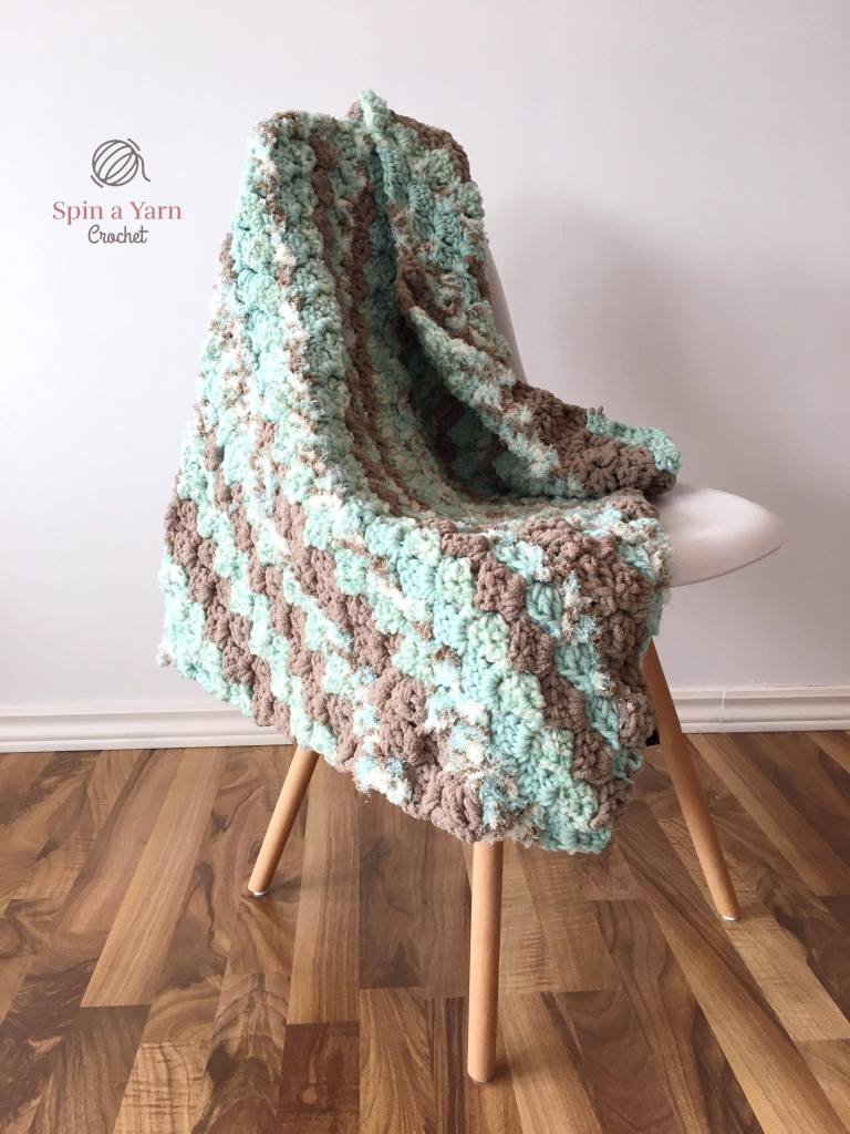 Finished blanket on chair