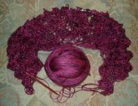 second Geisha yarn shawl in Backstabber colorway