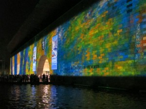National Gallery of Victoria painted by a light show, White Night Melbourne, 2013