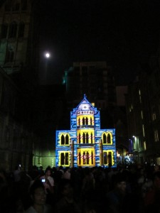 Full moon on the rise, White Night Melbourne, 2013
